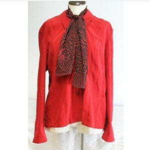 MHM Melissa Harper Red Dress Jacket Blazer Scarf
